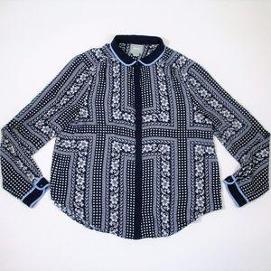 Anthro Maeve 12 Blue Long Sleeve Shirt Blouse EUC